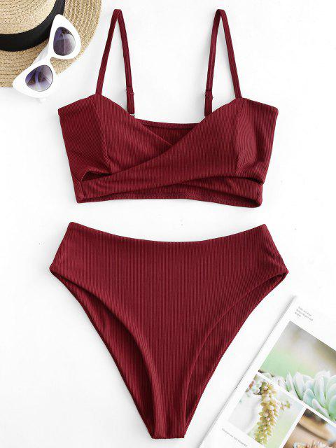 ladies ZAFUL Ribbed Crossover High Leg Tankini Swimsuit - RED WINE XL Mobile