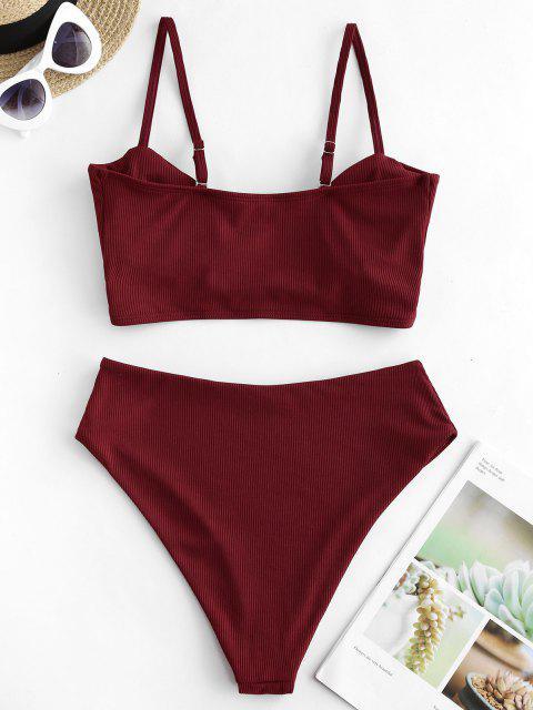 women ZAFUL Ribbed Crossover High Leg Tankini Swimsuit - RED WINE M Mobile