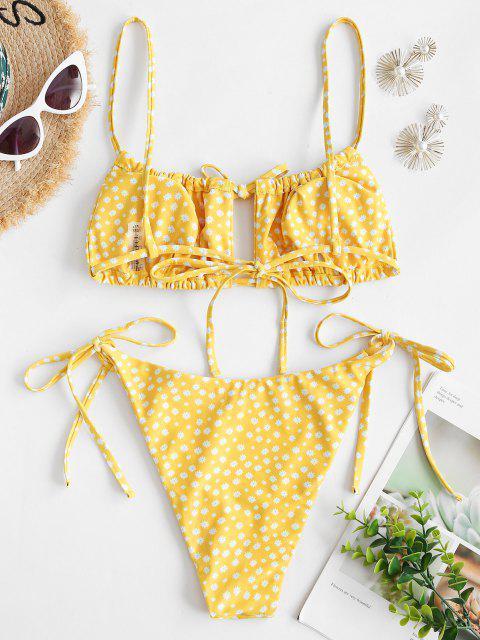 ZAFUL Costume da Bagno Bikini con Stampa a Fiorellini - Giallo M Mobile