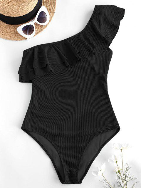 lady ZAFUL Flounce Ribbed One Shoulder One-piece Swimsuit - BLACK M Mobile