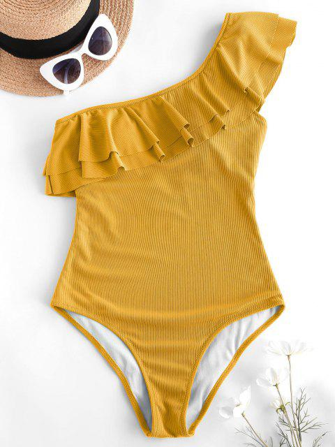 ladies ZAFUL Flounce Ribbed One Shoulder One-piece Swimsuit - DEEP YELLOW M Mobile