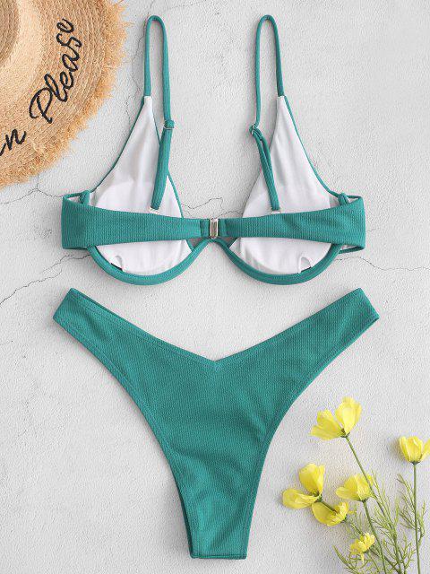 online ZAFUL Ribbed High Leg Underwire Bikini Swimsuit - SEA TURTLE GREEN L Mobile