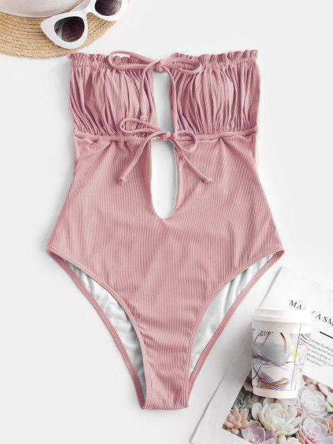 online ZAFUL Ribbed Tie Ruched Bandeau One-piece Swimsuit - LIGHT PINK M Mobile