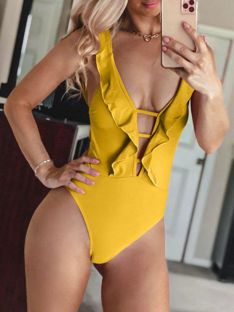 fancy ZAFUL Lattice Criss Cross Ruffle Swimsuit - BEE YELLOW L Mobile