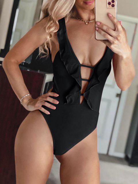 online ZAFUL Lattice Criss Cross Ruffle Swimsuit - BLACK L Mobile