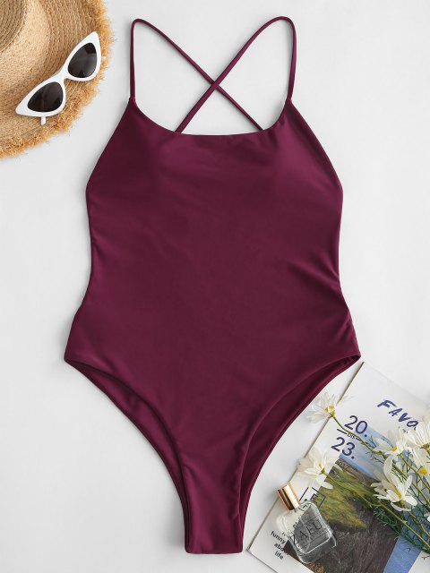 ZAFUL Criss Cross Backless One-piece Swimsuit - أحمر عميق S Mobile