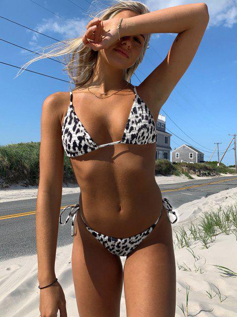 women ZAFUL Animal Print Smocked String Bikini Swimwear - BLACK S Mobile