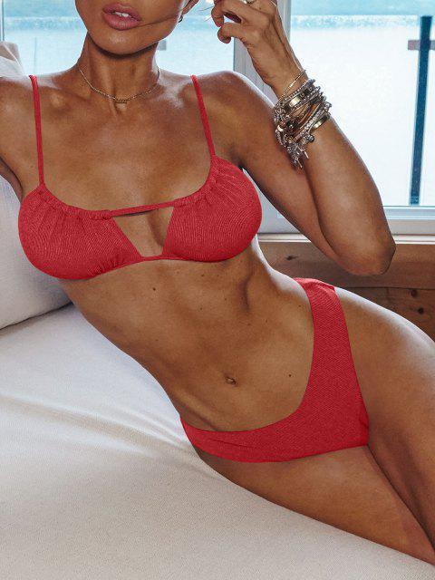 sale ZAFUL Ribbed High Cut Ruched Tie Bikini Swimwear - RED S Mobile