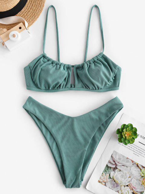 fashion ZAFUL Ribbed High Cut Ruched Tie Bikini Swimwear - SEA TURTLE GREEN M Mobile