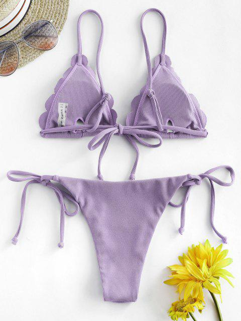 shop ZAFUL Ribbed Scalloped String Bikini Swimsuit - LIGHT PURPLE M Mobile