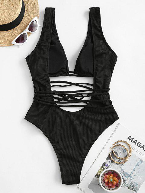 unique ZAFUL Ribbed Cutout Backless One-piece Swimsuit - BLACK M Mobile
