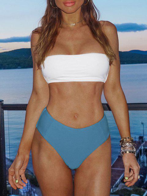 Bikini Bandeau de Dos Tonos de Corte Alto ZAFUL - Azul de Seda M Mobile