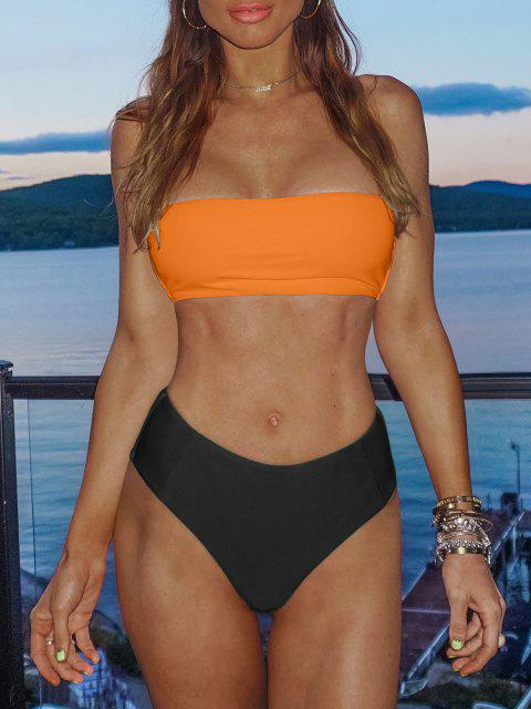 buy High Cut Two Tone Bandeau Bikini Set - ORANGE M Mobile
