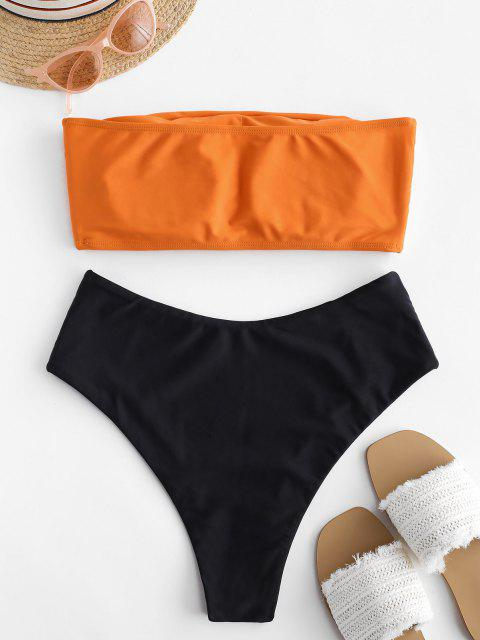 new High Cut Two Tone Bandeau Bikini Set - ORANGE L Mobile