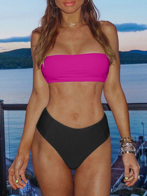 women's High Cut Two Tone Bandeau Bikini Set - DEEP PINK L Mobile