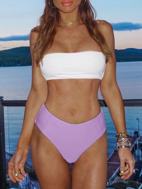 Bikini Bandeau de Dos Tonos de Corte Alto - Color de malva L Mobile