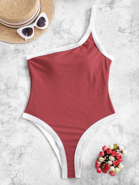 Costume Intero Di ZAFUL A Costine A Monospalla - Rosso Ciliegia XL Mobile