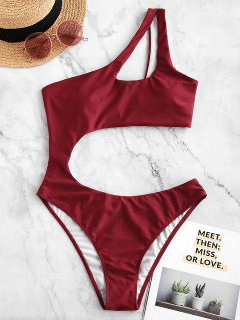 fancy ZAFUL Cutout One Shoulder One-piece Swimsuit - RED M Mobile