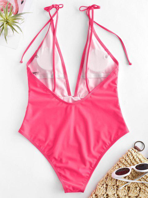 online ZAFUL Tie Shoulder Backless Swimsuit - HOT PINK XL Mobile