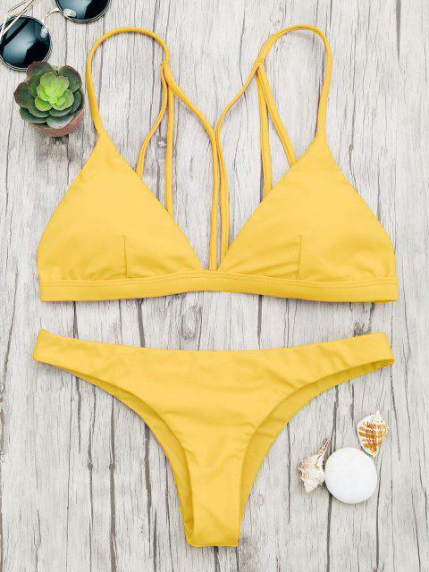 Gepolsterter Riemchen-Badeanzug - Gelb L Mobile