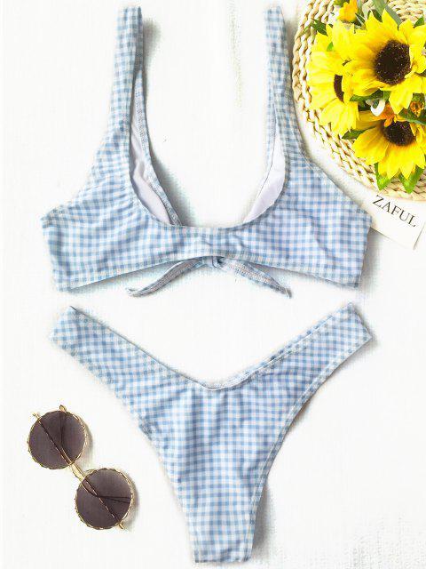 Vordere Riemchen Thong Karierter Bikini Set - Blau & Weiß L Mobile