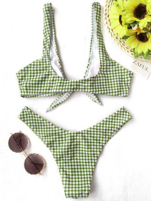 trendy Front Tie Thong Plaid Bikini Set - WHITE AND GREEN XL Mobile