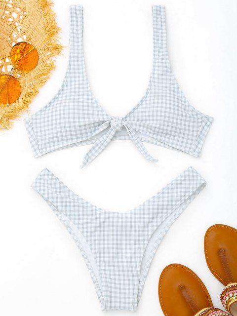 Vordere Riemchen Thong Karierter Bikini Set - Grau & Weiß XL Mobile