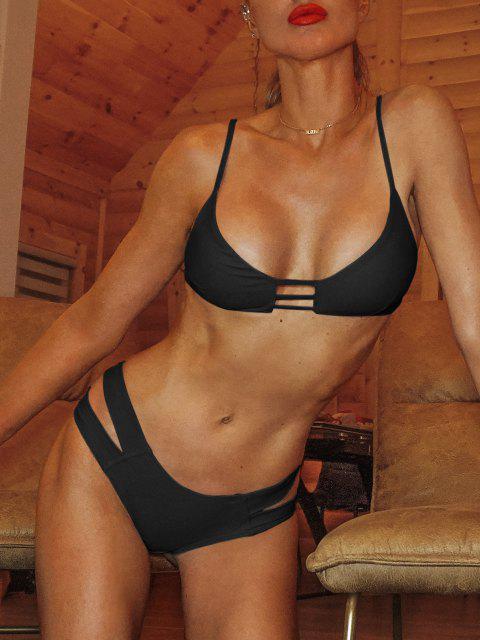 Bandage Bikini Badeanzug - Schwarz S Mobile