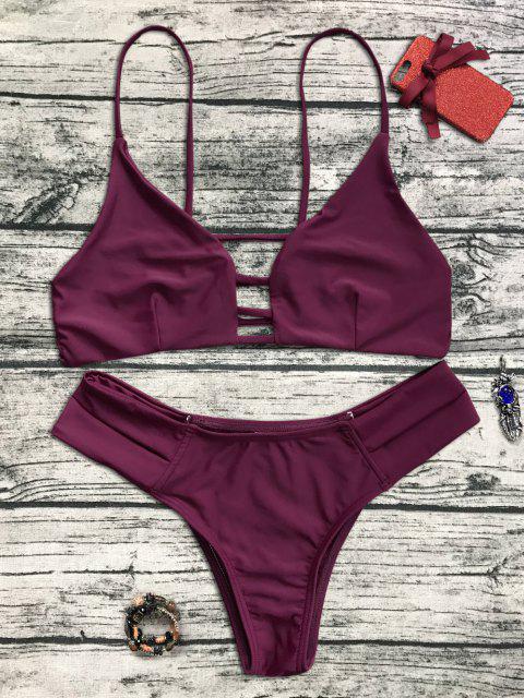 shop Caged Bandage Bikini Swimwear - BURGUNDY M Mobile