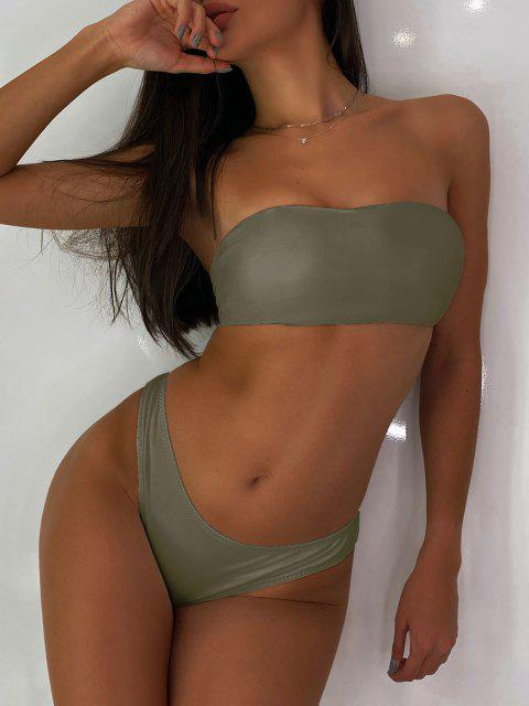 trendy High Cut Bandeau Thong Bathing Suit - ARMY GREEN M Mobile