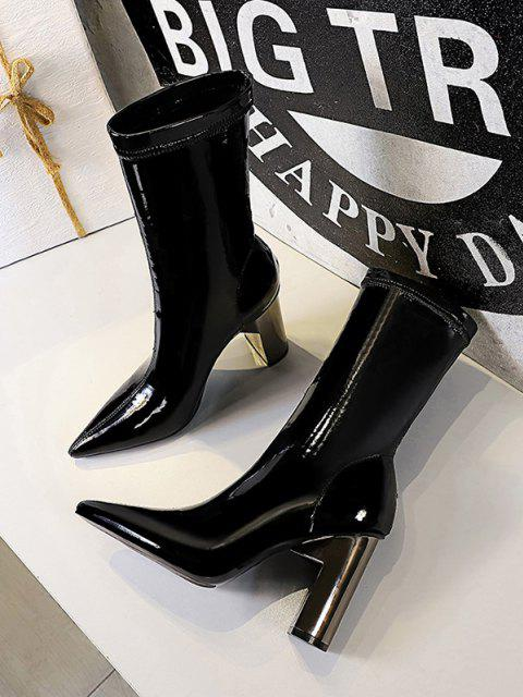 women's Glossy Patent Leather Metallic Block Heel Mid Calf Boots - BLACK EU 40 Mobile