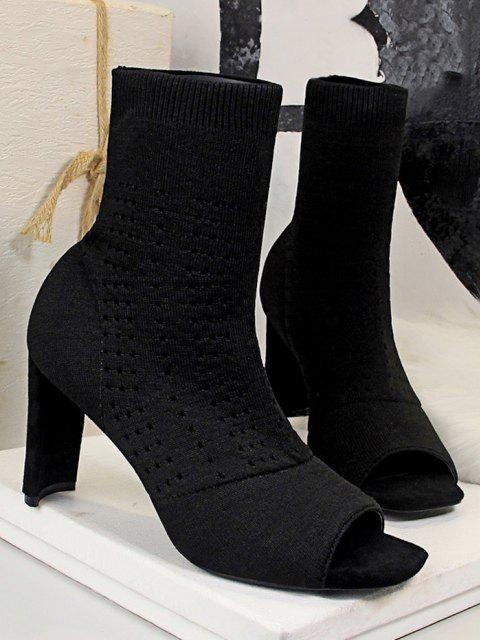 lady Knitted Hollow Out Peep Toe Chunky Heel Boots - BLACK EU 39 Mobile