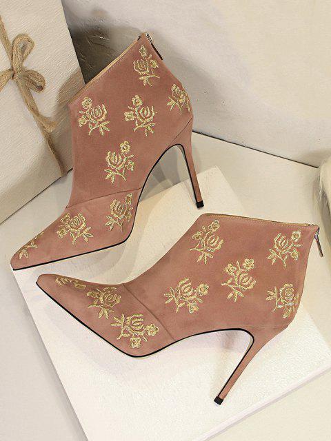 Botas no tornozelo com bordado de flor - Rosa UE 37 Mobile