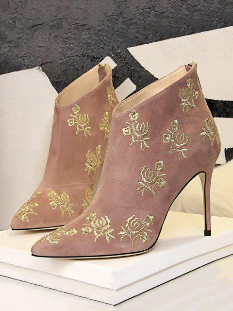 trendy Retro Golden Flower Embroidered Pointed Toe Suede Ankle Boot - PINK EU 40 Mobile