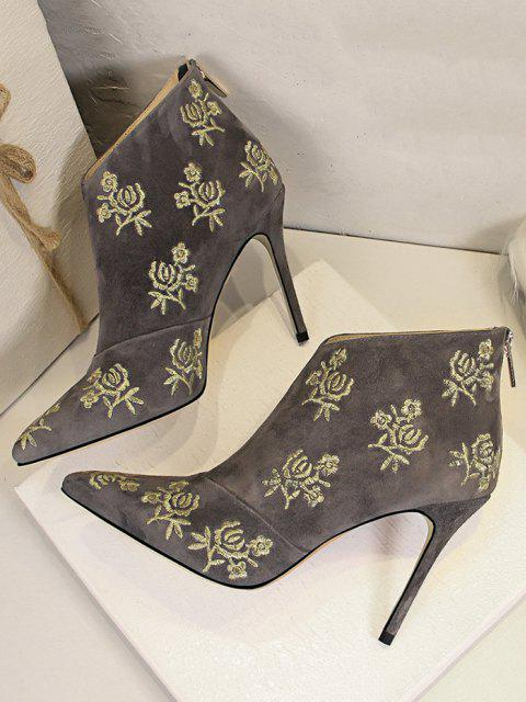 fashion Retro Golden Flower Embroidered Pointed Toe Suede Ankle Boot - GRAY EU 37 Mobile
