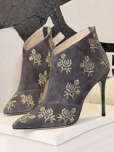 unique Retro Golden Flower Embroidered Pointed Toe Suede Ankle Boot - GRAY EU 40 Mobile