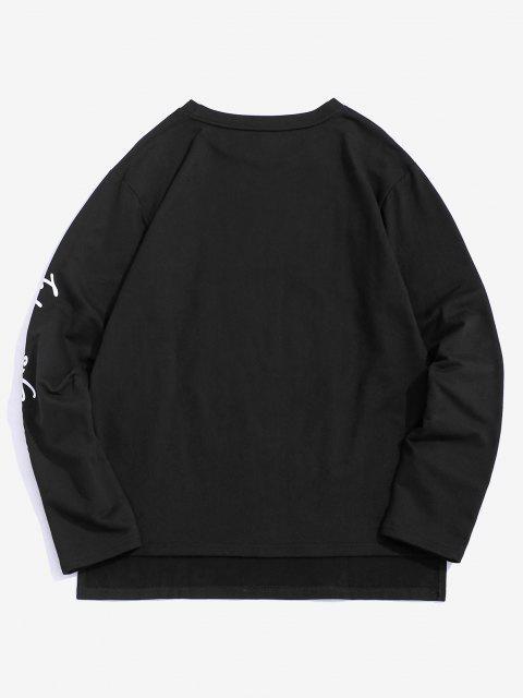 chic ZAFUL Wave Letter Print Graphic Sweatshirt - BLACK S Mobile