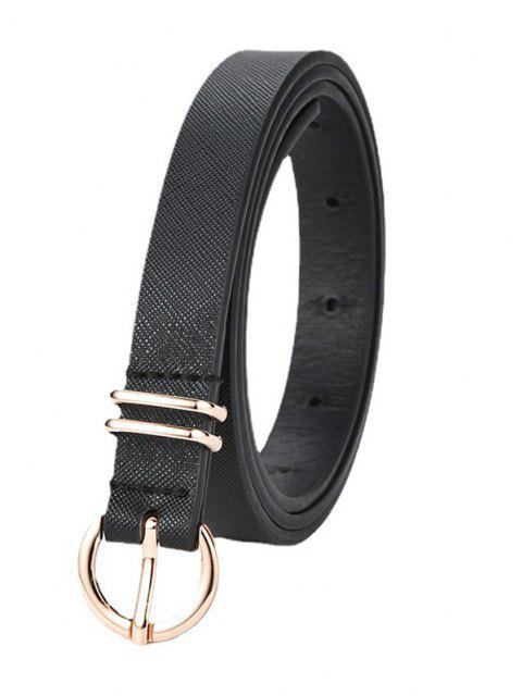 unique Grainy Texture Solid Glossy Round Buckle Belt - BLACK  Mobile