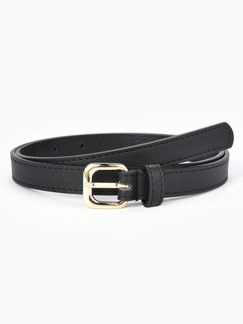 Cintura a Fibbia Rettangolare con Impuntura Metallizzato - Nero  Mobile