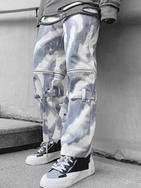 trendy Zipper Tie Dye Wide Leg Jeans - SNOW CAMOUFLAGE XS Mobile