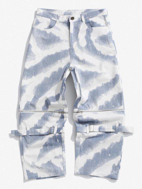 fancy Zipper Tie Dye Wide Leg Jeans - SNOW CAMOUFLAGE S Mobile