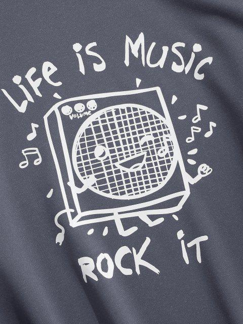 lady Life Is Music Graphic Drop Shoulder Sweatshirt - DARK GRAY XL Mobile