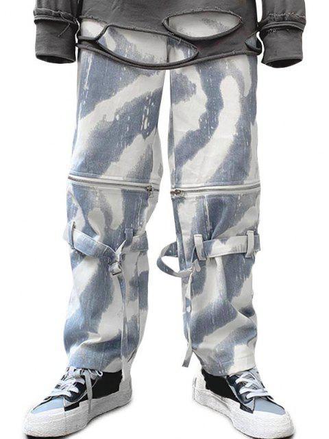 shop Zipper Tie Dye Wide Leg Jeans - SNOW CAMOUFLAGE L Mobile