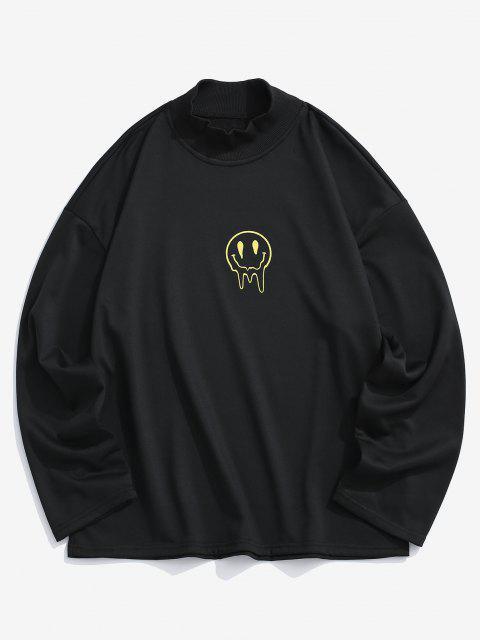 Glückliches Gesicht Blumendruck Fallschulter Sweatshirt - Schwarz M Mobile