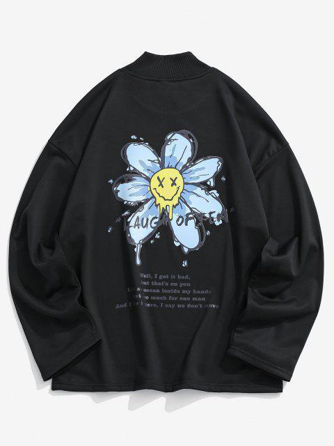 Glückliches Gesicht Blumendruck Fallschulter Sweatshirt - Schwarz L Mobile