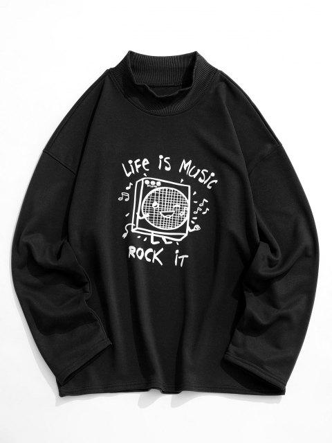 Sweat-shirt Imprimé Message à Épaules Tombantes - Noir 2XL Mobile