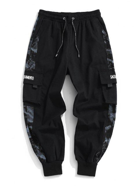 buy Letter Patch Panel Cargo Pants - BLACK M Mobile