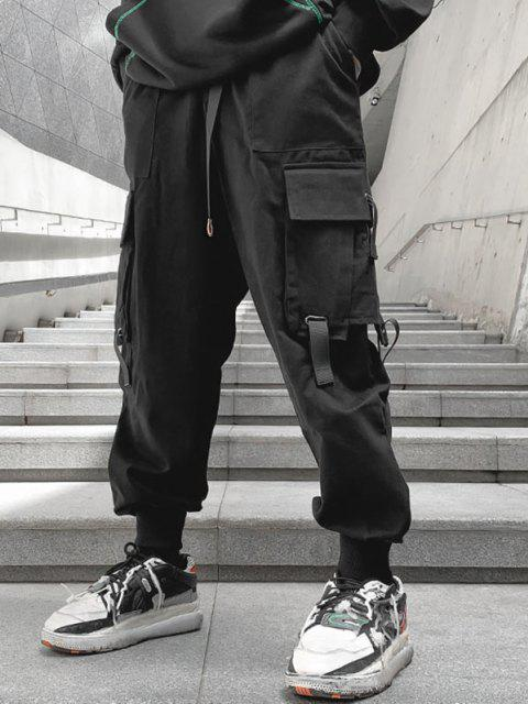 Pantalones de Carga de Cremallera de Multi-bolsillos - Negro 3XL Mobile
