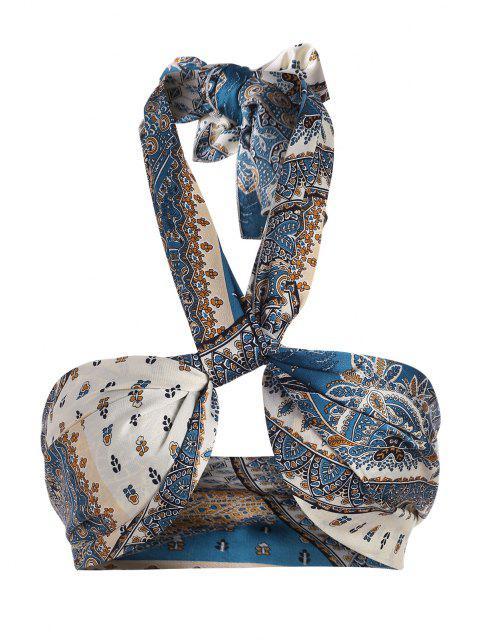 women ZAFUL Bohemian Flower Print Multiway Crop Tank Top - DEEP BLUE ONE SIZE Mobile