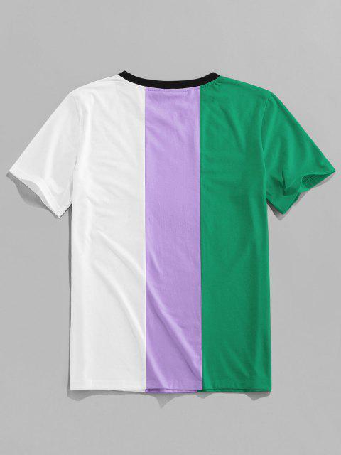 ZAFUL Buchstabedruck Kontrast Slogan T-Shirt - Dunkelgrün L Mobile